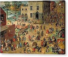 Children's Games Acrylic Print by Pieter the Elder Bruegel