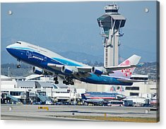 China Airlines Boeing 747 Dreamliner Lax Acrylic Print by Brian Lockett
