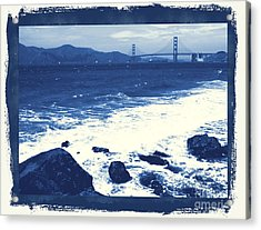 China Beach And Golden Gate Bridge With Blue Tones Acrylic Print by Carol Groenen