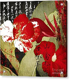 China Red Canna Acrylic Print by Mindy Sommers