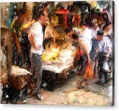 Chinatown Rain Acrylic Print by Marilyn Sholin