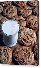 Chocolate Chip Cookies And Glass Of Milk Acrylic Print by Garry Gay