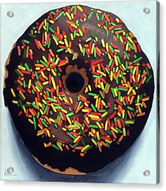 Chocolate Donut And Sprinkles Large Painting Acrylic Print by Linda Apple