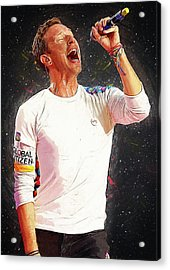 Chris Martin - Coldplay Acrylic Print by Semih Yurdabak
