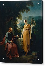 Christ And The Woman Of Samaria Acrylic Print by Mountain Dreams
