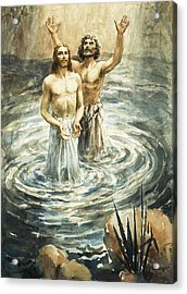 Christ Being Baptised Acrylic Print by Henry Coller