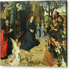 Christ Child Adored By Angels Acrylic Print by Hugo van der Goes