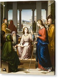 Christ Disputing With The Doctors In The Temple Acrylic Print by Franz von Rohden