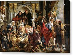 Christ Driving The Merchants From The Temple Acrylic Print by Jacob Jordaens