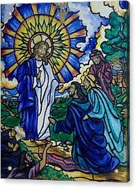 Christ Healing Blind Bartimaeus Acrylic Print by Antoinette QUEENNETTATITI Allen