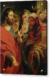 Christ Instructing Nicodemus Acrylic Print by Jacob Jordaens