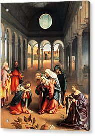 Christ Taking Leave Of His Mother Acrylic Print by Lorenzo Lotto