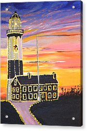 Christmas At The Lighthouse Acrylic Print by Donna Blossom