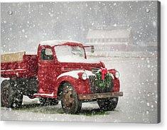 Christmas Chevy Acrylic Print by Lori Deiter