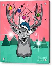 Christmas Deer Acrylic Print by Mark Ashkenazi