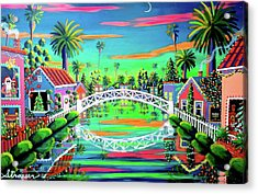 Christmas Eve On Retro Canal Acrylic Print by Frank Strasser