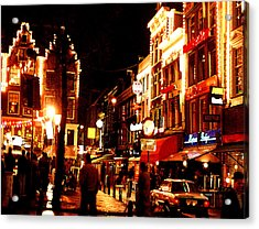 Christmas In Amsterdam Acrylic Print by Nancy Mueller