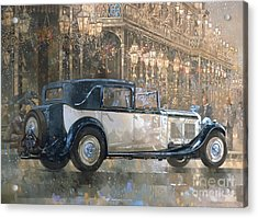 Christmas Lights And 8 Litre Bentley Acrylic Print by Peter Miller