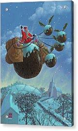 Christmas Pudding Santa Ride Acrylic Print by Martin Davey