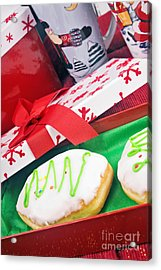 Christmas Raspberry Filled Jelly Donuts Acrylic Print by Vizual Studio