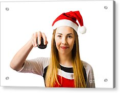 Christmas Shopping Girl Browsing Internet For Gift Acrylic Print by Jorgo Photography - Wall Art Gallery