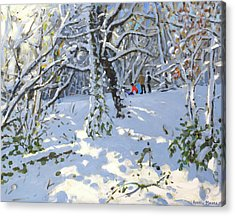 Christmas Sledging In Allestree Woods Acrylic Print by Andrew Macara