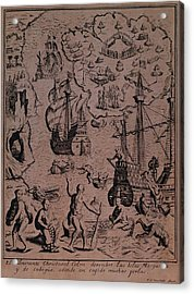 Christopher Colombus Discovering The Islands Of Margarita And Cubagua Where They Found Many Pearls Acrylic Print by Spanish School