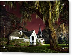 Christ's Church At Sunset Acrylic Print by Debra and Dave Vanderlaan