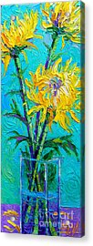 Chrysanthemums In A Vase Acrylic Print by Mona Edulesco