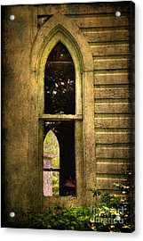 Church Window Church Bell Acrylic Print by Lois Bryan