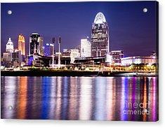 Cincinnati At Night Downtown City Buildings Acrylic Print by Paul Velgos