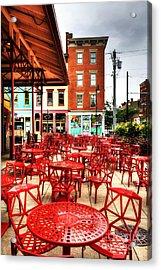 Cincinnati Red At Findlay Market Acrylic Print by Mel Steinhauer