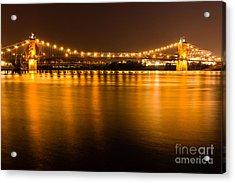 Cincinnati Roebling Bridge At Night Acrylic Print by Paul Velgos