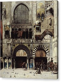 Circassian Cavalry Awaiting Their Commanding Officer At The Door Of A Byzantine Monument Acrylic Print by Alberto Pasini