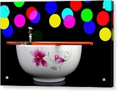 Circus Balance Game On Chopsticks Acrylic Print by Paul Ge