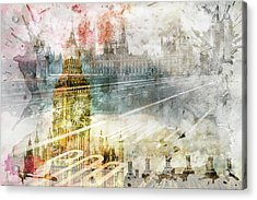 City Art Big Ben And Westminster Bridge II Acrylic Print by Melanie Viola
