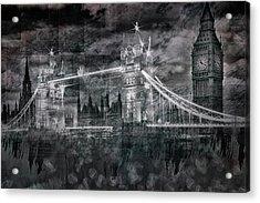 City-art London Tower Bridge And Big Ben Composing Bw  Acrylic Print by Melanie Viola