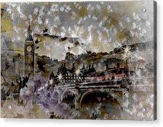 City-art London Westminster Bridge At Sunset Acrylic Print by Melanie Viola