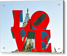City Hall Behind The Love Statue Acrylic Print by Bill Cannon