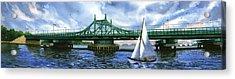 City Island Bridge Summer Acrylic Print by Marguerite Chadwick-Juner