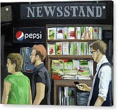 City Newsstand - People On The Street Painting Acrylic Print by Linda Apple