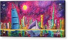 City Of Dubai Pop Art Original Luxe Life Painting By Madart Acrylic Print by Megan Duncanson