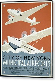 City Of New York Municipal Airports Acrylic Print by Christopher DeNoon