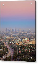 Cityscape Of Los Angeles Acrylic Print by Eric Lo