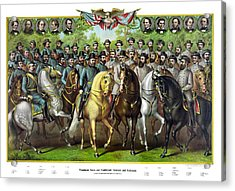 Civil War Generals And Statesman With Names Acrylic Print by War Is Hell Store