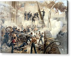 Civil War Naval Battle Acrylic Print by War Is Hell Store