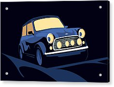 Classic Mini Cooper In Blue Acrylic Print by Michael Tompsett
