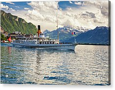 Classic Steamboat On Lake Geneva, Acrylic Print by George Oze