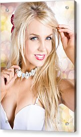 Classy Woman Wearing Diamond Jewelry Chocker Acrylic Print by Jorgo Photography - Wall Art Gallery