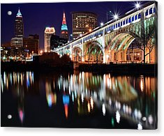 Cleveland Ohio Skyline Acrylic Print by Frozen in Time Fine Art Photography